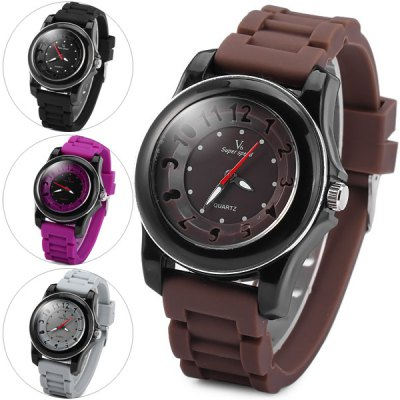 V6 V0223 Quartz Watch Hollow - out Scale Round Dial Rubber Strap for Women or Men Unisex Watches