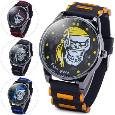 V6 V0189 Fashion Round Dial Male Skull Quartz Watch Rubber Band for MenMens Watches<br>V6 V0189 Fashion Round Dial Male Skull Quartz Watch Rubber Band for Men<br><br>Brand: V6<br>Watches categories: Male table<br>Watch style: Fashion<br>Available color: White, Blue, Red, Yellow<br>Movement type: Quartz watch<br>Shape of the dial: Round<br>Display type: Analog<br>Case material: Alloy<br>Band material: Rubber<br>The dial thickness: 1.2 cm / 0.5 inches<br>The dial diameter: 4.8 cm / 1.9 inches<br>The band width: 2.4 cm / 0.9 inches<br>Product weight: 0.078 kg<br>Product size (L x W x H): 26.6 x 4.8 x 1.2 cm / 10.5 x 1.9 x 0.5 inches<br>Package Contents: 1 x Watch
