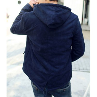 Гаджет   Stylish Hooded Slimming Pocket Design Drawstring Long Sleeve Thicken Cotton Blend Coat For Men Jackets & Coats