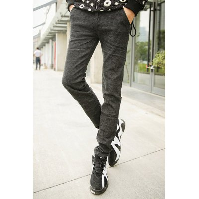 Гаджет   Slimming Stylish Stripe Splicing Pocket Design Straight Leg Cotton Blend Pants For Men