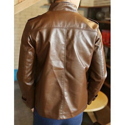 Гаджет   Stylish Stand Collar Slimming Solid Color Epaulet Design Long Sleeve PU Leather Coat For Men Jackets & Coats