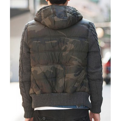 Гаджет   Stylish Hooded Slimming Horn Button Camo Design Knitted Splicing Long Sleeve Thicken Cotton Blend Coat For Men Jackets & Coats