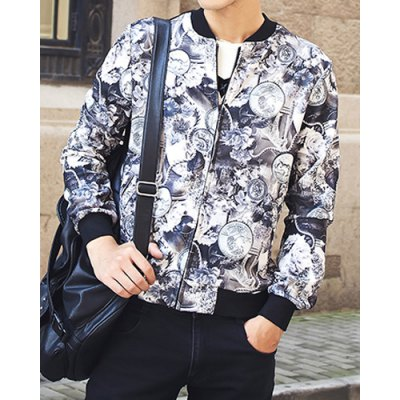Гаджет   Stylish Stand Collar Slimming Color Block 3D Coins Print Splicing Long Sleeve Polyester Coat For Men Jackets & Coats