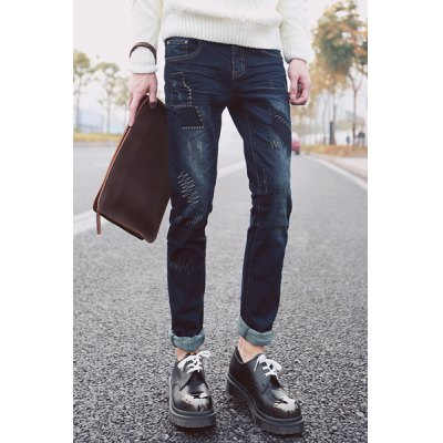 Гаджет   Slimming Stylish Patches Splicing Sutures Design Narrow Feet Jeans For Men Pants