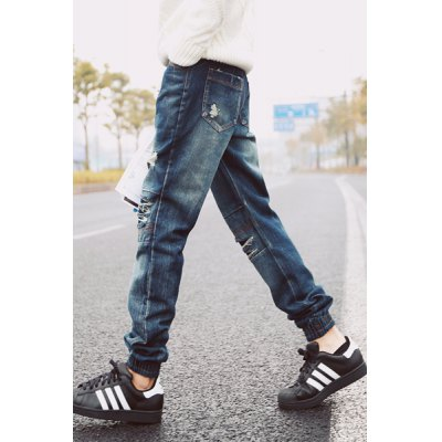 Гаджет   Slimming Stylish Destroy Wash Patches Splicing Sutures Design Beam Feet Jeans For Men Pants
