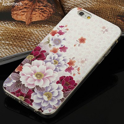 Aobntech White Flower Pattern TPU Back Case Cover for iPhone 6 - 4.7 inches