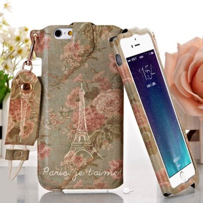 ФОТО Jiong Bear Peony Tower Pattern PU + PC 4.7 inch Phone Cover Case Skin with Lanyard for iPhone 6