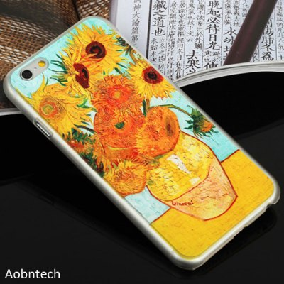 Aobntech PC Protective Back Case of Van Gogh Sunflower Painting Pattern Design for iPhone 6  -  4.7 inches