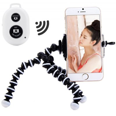 Bluetooth Remote Control Selfie Camera Shutter with Tripod Mount and Clip Stand