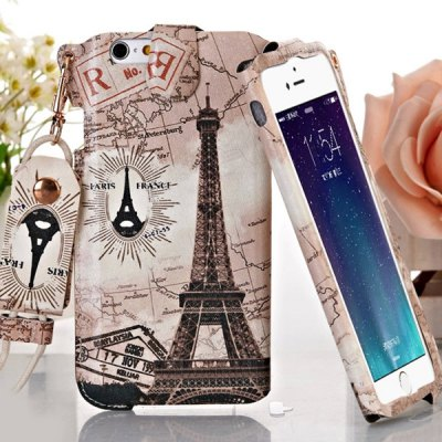 ФОТО Jiong Bear Eiffel Tower Pattern PU + PC 5.5 inch Phone Cover Case Skin with Lanyard for iPhone 6 Plus