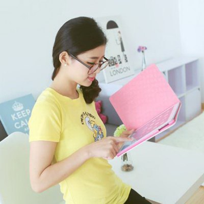 Гаджет   Practical Yellow Bowknot Girl Pattern Stand Design PU and PC Cover Case for iPad mini iPad Cases/Covers