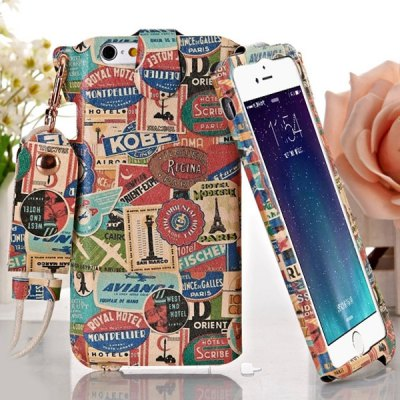 Гаджет   Jiong Bear Label Pattern PU + PC 5.5 inch Phone Cover Case Skin with Lanyard for iPhone 6 Plus iPhone Cases/Covers