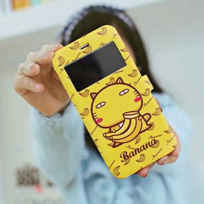 Гаджет   Practical Banana Hamicat Pattern PU and TPU Cover Case with Stand for iPhone 6  -  4.7 inches iPhone Cases/Covers