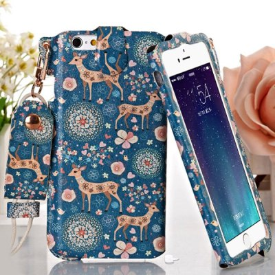 Гаджет   Jiong Bear Sika Deer Style PU + PC 5.5 inch Phone Cover Case Skin with Lanyard for iPhone 6 Plus iPhone Cases/Covers