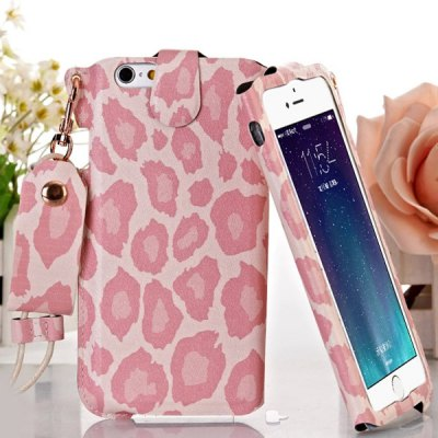 Гаджет   Jiong Bear Pink Leopard PU + PC 5.5 inch Phone Cover Case Skin with Lanyard for iPhone 6 Plus iPhone Cases/Covers