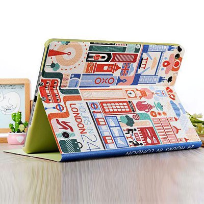Гаджет   Practical 24 Hours in London Pattern Stand Design PU and PC Cover Case for iPad Air iPad Cases/Covers
