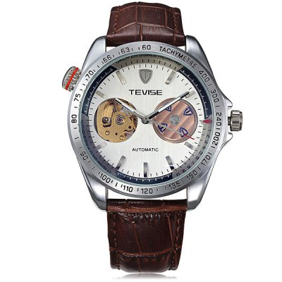 ФОТО Tevise 8386 Automatic Mechanical Watch Hollow - out Round Dial Leather Band for Men