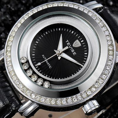 ФОТО Tevise 605 Men Automatic Mechanical Watch Rolling Diamond Round Dial Leather Band