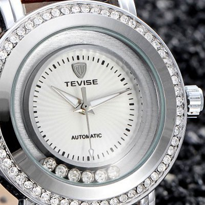 Гаджет   Tevise 605 Men Automatic Mechanical Watch Rolling Diamond Round Dial Leather Band Men