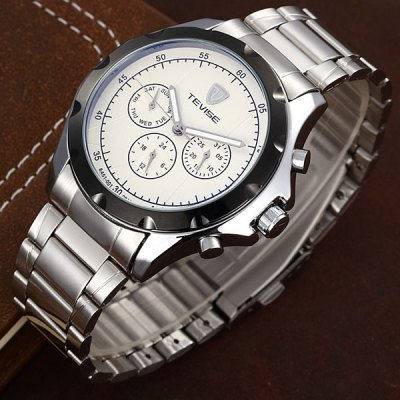 Tevise 8451 - 001 Men Automatic Mechanical Watch Round Dial with Day Date Stainless Steel Band