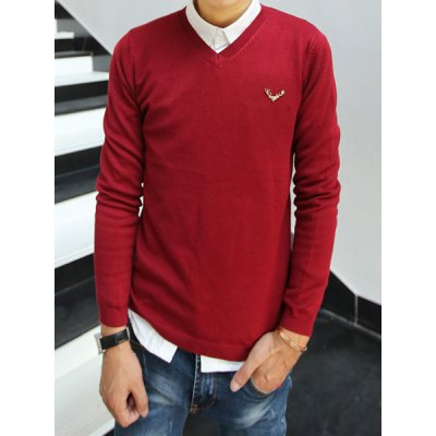 Гаджет   Stylish V-Neck Slimming Solid Color Metal Fawn Design Long Sleeve Cotton Blend Sweater For Men