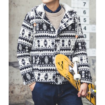Гаджет   Refreshing Hooded Personality Geometric Print Slimming Long Sleeves Men