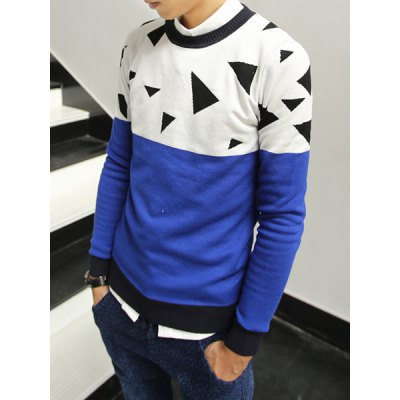 Гаджет   Stylish Round Neck Slimming Triangle Jacquard Color Splicing Long Sleeve Cotton Blend Sweater For Men Sweaters & Cardigans