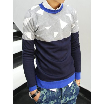 Гаджет   Stylish Round Neck Slimming Triangle Jacquard Color Splicing Long Sleeve Cotton Blend Sweater For Men