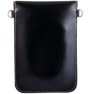 Universal PU Material 6.3 inches Vertical Snapper Phone Pouch Lanyard Change Pocket Card Bag