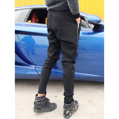 Гаджет   Slimming Stylish Zipper Design Rib Splicing Narrow Feet Thicken Cotton Blend Harem Pants For Men