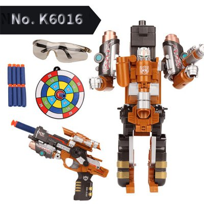 Super Cool No.K6019 The Armoured X - men Deformation Shooting Gun Assembly Transformers Robot Pistol Toy with Soft EVA Bullet New Year Gift