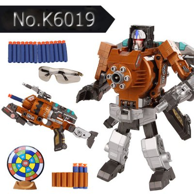 No.K6018 Super Cool The Armoured X - men Deformation Shooting Gun Assembly Transformers Robot Pistol Toy with Soft EVA Bullet New Year GiftModel &amp; Building Toys<br>No.K6018 Super Cool The Armoured X - men Deformation Shooting Gun Assembly Transformers Robot Pistol Toy with Soft EVA Bullet New Year Gift<br><br>Feature: Assembly Transformers Robot, soft EVA bullets, transformers robot gun, 10m shooting distance.<br>Age: 12-15 Years, 6-7 Years, Adults, 3-4 Years, 5-7 Years, 8-11 Years<br>Product Weight   : 0.750 kg<br>Package Weight   : 1.1 kg<br>Package Size (L x W x H)  : 32 x 25 x 8 cm<br>Package Contents: 1 x Transformers Gun, 8 x  EVA  Bullet, 1 x Bullet Target, 1 x Protection Glasses, 1 x User Guide