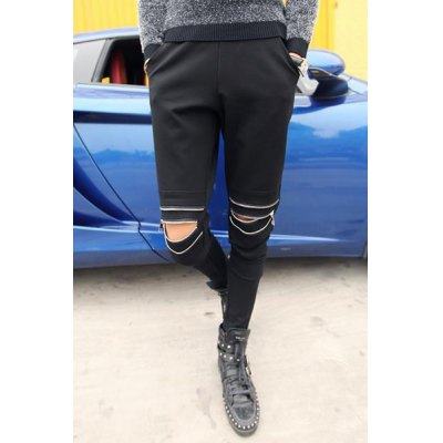 Гаджет   Slimming Stylish Zipper Design Rib Splicing Narrow Feet Cotton Blend Harem Pants For Men
