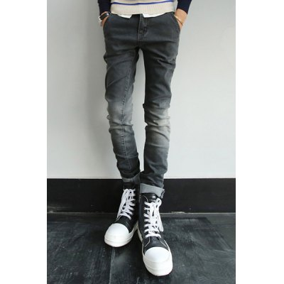 Гаджет   Slimming Stylish Bleach Wash Ombre Pocket Design Narrow Feet Jeans For Men Pants