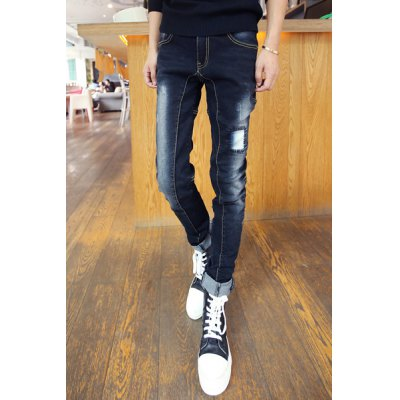 Гаджет   Slimming Stylish Sutures Design Patch Splicing Narrow Feet Jeans For Men