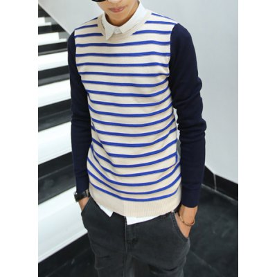 Гаджет   Stylish Round Neck Slimming Stripe Design Color Splicing Long Sleeve Cotton Blend Sweater For Men Sweaters & Cardigans