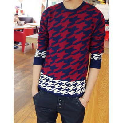 Гаджет   Stylish Round Neck Slimming Color Block Houndstooth Design Long Sleeve Cotton Blend Sweater For Men Sweaters & Cardigans
