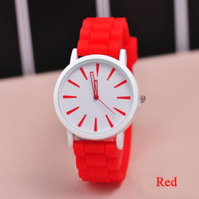 Гаджет   Geneva Leisure Watch with Simple Design Big Round Dial Rubber Band Women