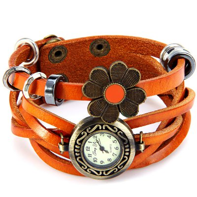 Jingyi Flower Quartz Wrist Watch Leather Strap Round Dial for WomenWomens Watches<br>Jingyi Flower Quartz Wrist Watch Leather Strap Round Dial for Women<br><br>Watches categories: Female table<br>Available color: Brown<br>Style : Retro, Fashion&amp;Casual<br>Movement type: Quartz watch<br>Shape of the dial: Round<br>Display type: Analog<br>Case material: Stainless steel<br>Case color: Coppery<br>Band material: Leather<br>Clasp type: Double buckle<br>The dial thickness: 0.6 cm / 0.2 inches<br>The dial diameter: 2.6 cm / 1.0 inches<br>The band width: 2.3 cm / 0.9 inches<br>Product weight: 37 g<br>Product size (L x W x H) : 21.5 x 2.6 x 0.8 cm / 8.5 x 1.0 x 0.3 inches<br>Package contents: 1 x Watch
