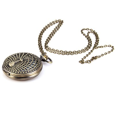 Flip Peacock Spread His Tail Quartz Pocket Watch Large Size от GearBest.com INT