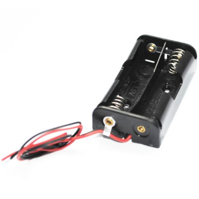 External 2 x AA Battery Holder Spring Clip Box Case with 11CM Wire Lead