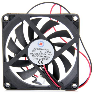 AV  -  8010M12S Practical DIY Brushless Cooling Air Fan for CPU Coolers ( 7.8cm Diameter / DC 12V 0.15A )CPU Cooler<br>AV  -  8010M12S Practical DIY Brushless Cooling Air Fan for CPU Coolers ( 7.8cm Diameter / DC 12V 0.15A )<br><br>Type: Cooling Fan<br>Color: Black<br>Product Weight: 0.037 kg<br>Package Weight: 0.087 kg<br>Fans Dimensions (L x W x H): 7.8cm<br>Product Size (L x W x H): 8.0 x 8.0 x 1.0 cm / 3.2 x 3.2 x 0.4 inches<br>Package Size (L x W x H) : 15.0 x 10.0 x 2.0 cm<br>Package Contents: 1 x AV-8010M12S DC 12V 0.15A DIY 7.8cm Brushless Cooling Fan