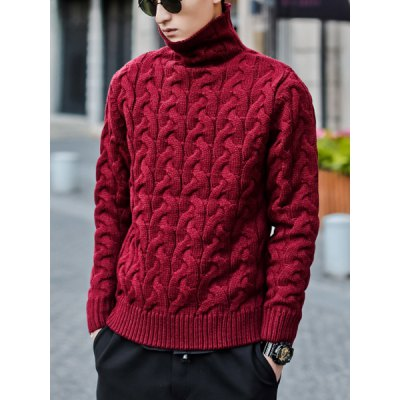 Гаджет   Stylish Turtle Neck Slimming Stereo Kink Design Solid Color Long Sleeve Thicken Cotton Blend Sweater For Men Sweaters & Cardigans