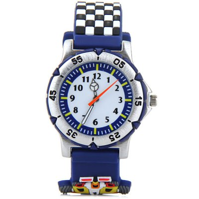 Children 3D Racing Quartz Watch Rubber Watch BandKids Watches<br>Children 3D Racing Quartz Watch Rubber Watch Band<br><br>Watches categories: Children watch<br>Watch style: Lovely<br>Available Color: Black, Orange, Navy<br>Movement type: Quartz watch<br>Shape of the dial: Round<br>Display type: Analog<br>Case material: Stainless steel<br>Band material: Rubber<br>Clasp type: Pin buckle<br>The dial thickness: 0.8 cm / 0.3 inches<br>The dial diameter: 3.3 cm / 1.0 inches<br>The band width: 2.4 cm / 0.6 inches<br>Product weight: 36 g<br>Product size (L x W x H) : 22.7 x 3.3 x 0.8 cm / 8.9 x 1.3 x 0.3 inches<br>Package contents: 1 x Watch