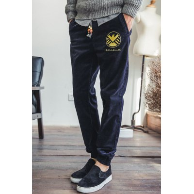 Гаджет   Slimming Stylish Lace-Up Solid Color Badge Embroidered Beam Feet Corduroy Joggers Pants For Men Pants