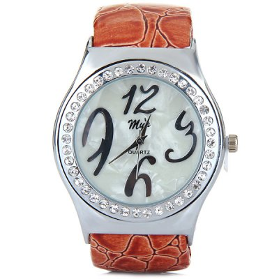 Гаджет   Myi Female Quartz Bracelet Wrist Watch Leather + Steel Band Round Dial Women