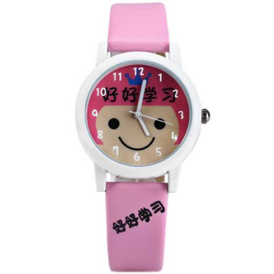 Гаджет   Mitina 176 Ladies Quartz Watch with Leather Band Round Dial Cartoon Dial Face