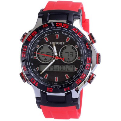 Shhors Dual Time LED Sports Military Watch