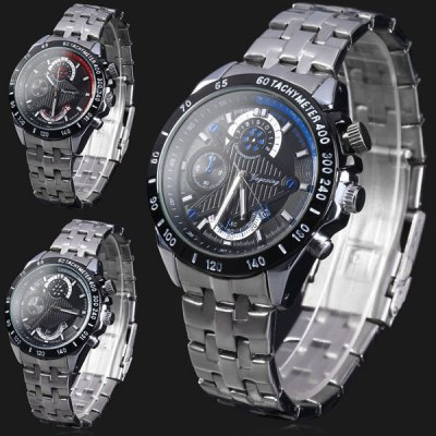 ФОТО Yagexing 8018G Japan Quartz Watch Date 30M Water Resistant Stainless Steel Band Round Dial for Men