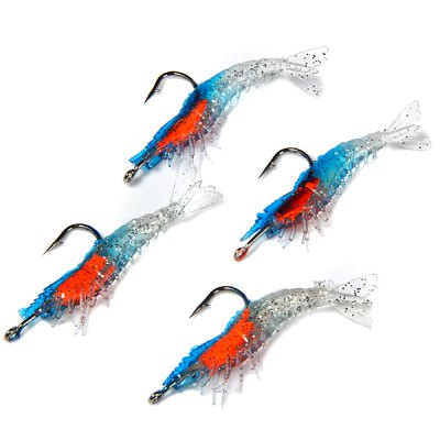 Yoshikawa 4Pcs Durable Fishing Bait Shrimp Softlure Artificial Lure with Hook  -  55mm 2.8g